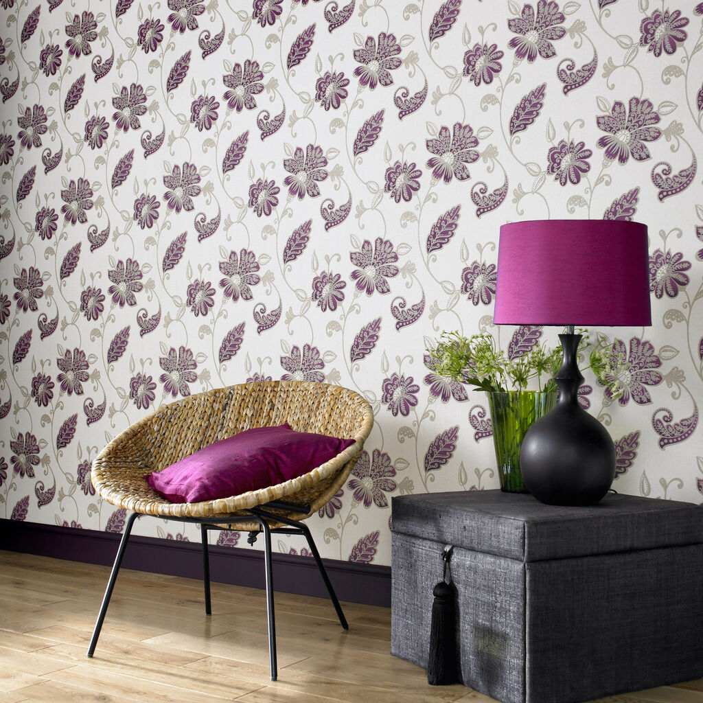 Juliet plum wallpaper purple gold wallpaper for Purple living room wallpaper