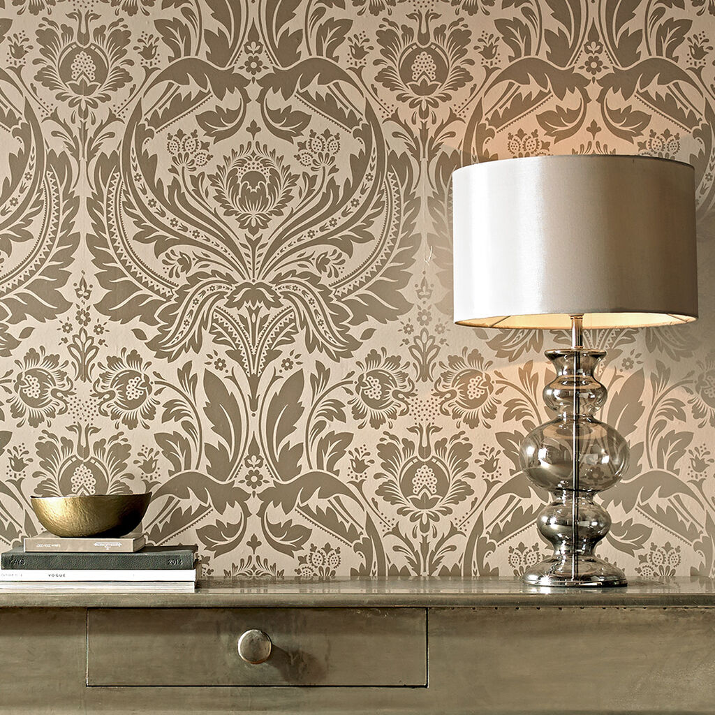 Desire Taupe And Metallic Wallpaper Graham Brown - Brown and cream wallpaper