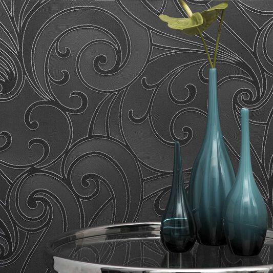 Saville Black Wallpaper, , large