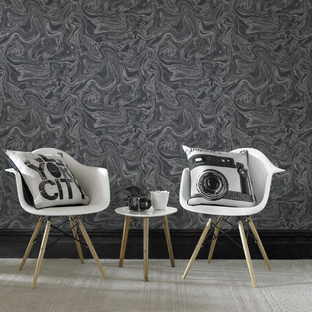 Marbled black and grey wallpaper graham brown for Dark grey bedroom wallpaper