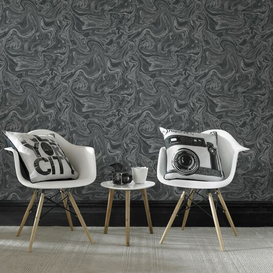 Marbled black grey graham brown for Black and grey bedroom wallpaper