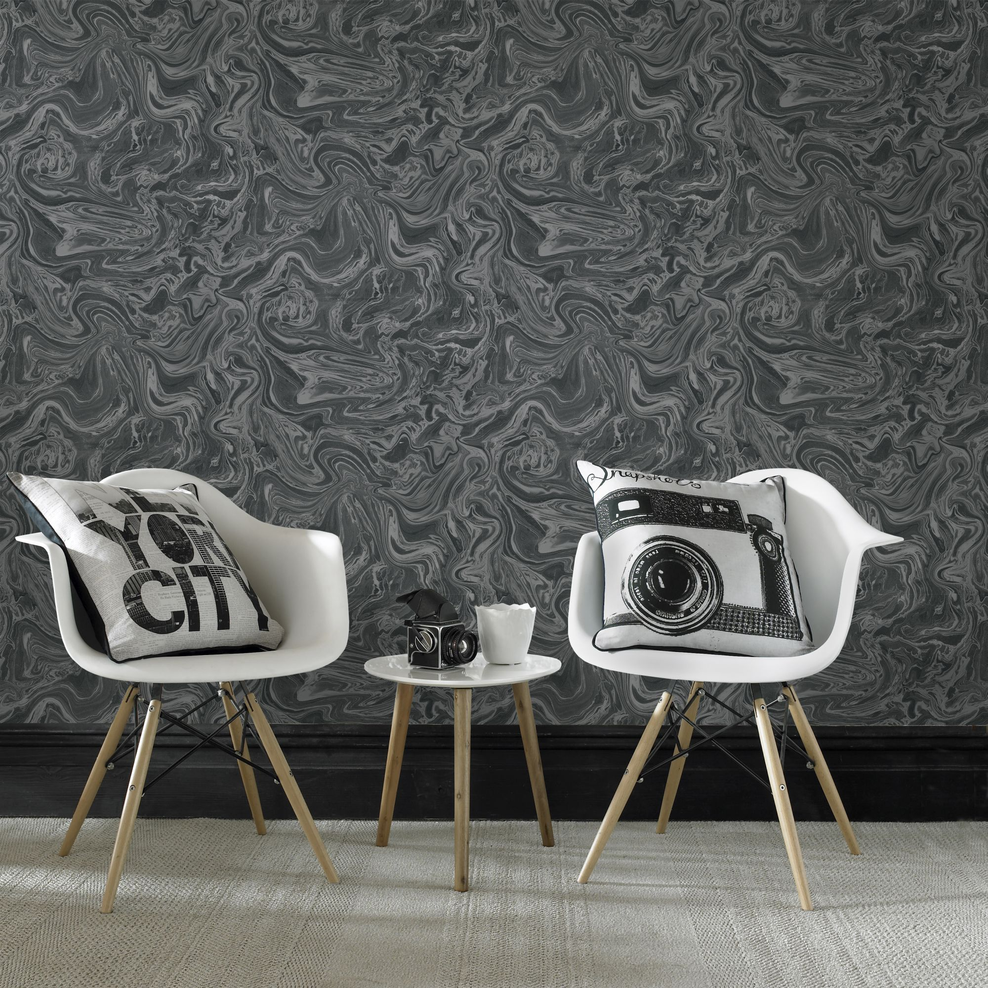 ... Large Marbled Black And Grey Wallpaper, ...