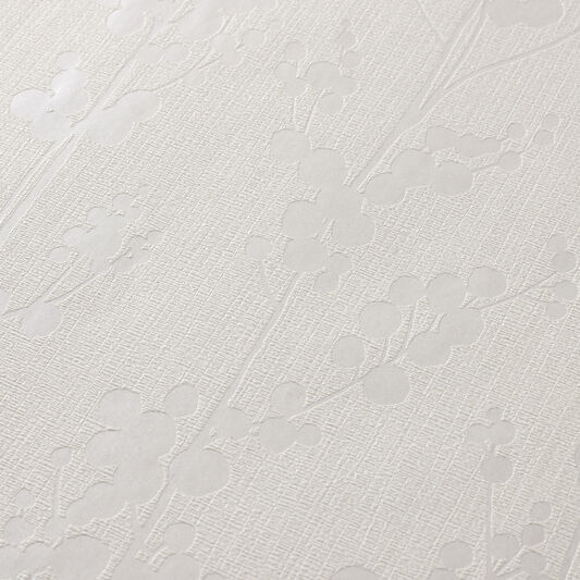 Berries White and Mica Wallpaper, , large