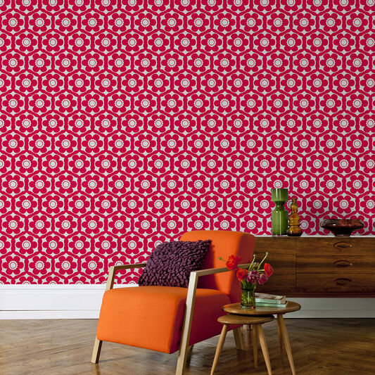 Funky flora candy pink wallpaper graham brown - Funky bathroom accessories uk ...