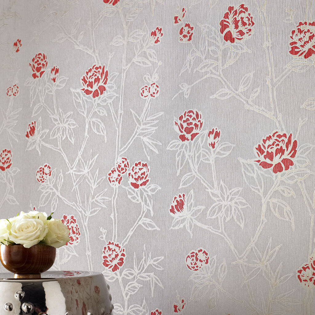 Hua red beige graham brown for Red and grey wallpaper for walls