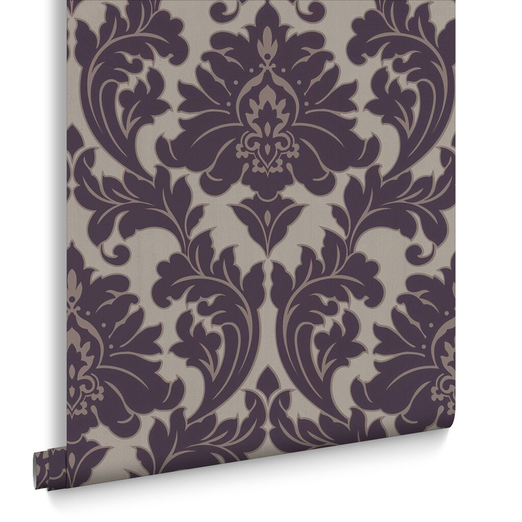 Majestic purple graham brown for Purple and grey wallpaper
