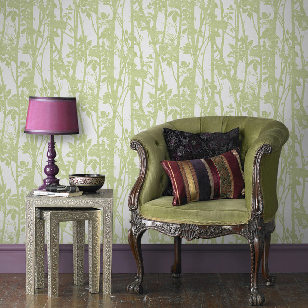 Fabric Branches Green Wallpaper Graham Brown