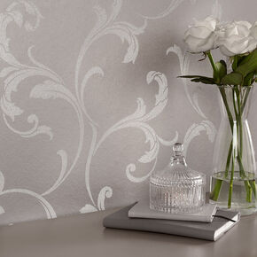Baroque Bead Platinum Wallpaper, , large
