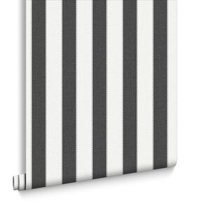 Ticking Stripe Charcoal et White, , large
