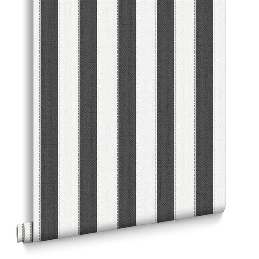 Ticking Stripe Charcoal and White Wallpaper, , large