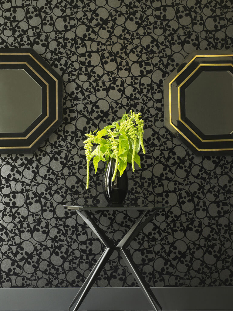 black wallpaper | skulls wallpaper | graham & brown