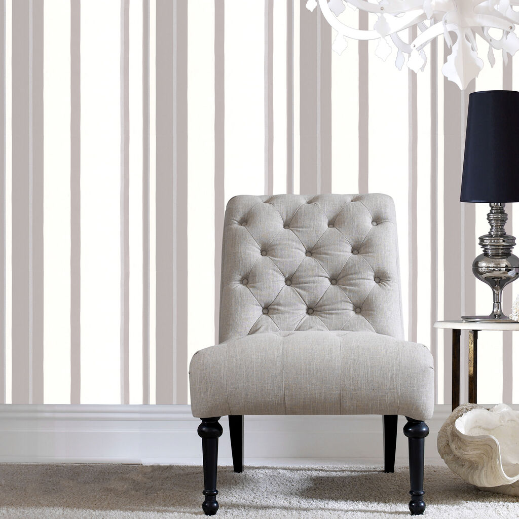 Hoppen Stripe White And Grey And Silver Wallpaper