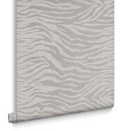 Zebra Silver Glitter Wallpaper, , large