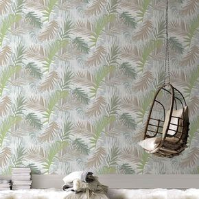 Jungle Glam Gold & Green Wallpaper, , large