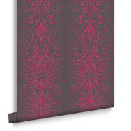 Glamour Damask Black and Pink Wallpaper, , large
