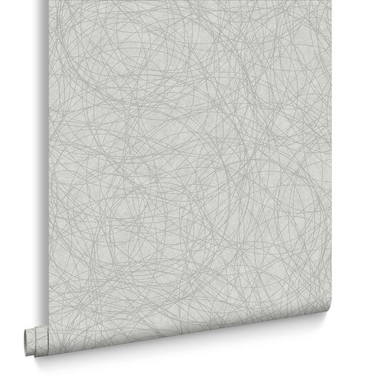 Twist White and Silver Wallpaper, , large