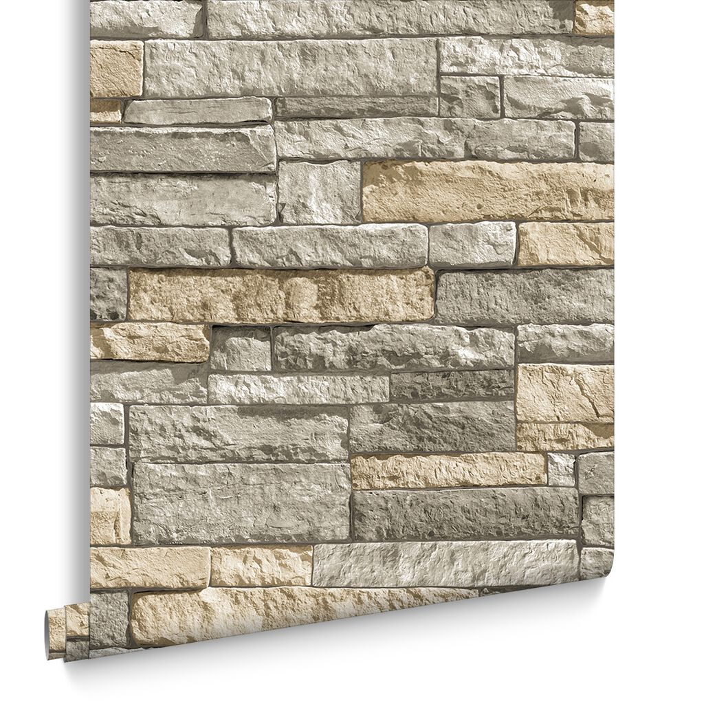 Ledgestone Grey And Terracotta Wallpaper
