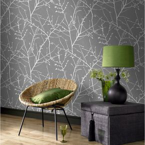 Innocence Charcoal and Silver Wallpaper, , large