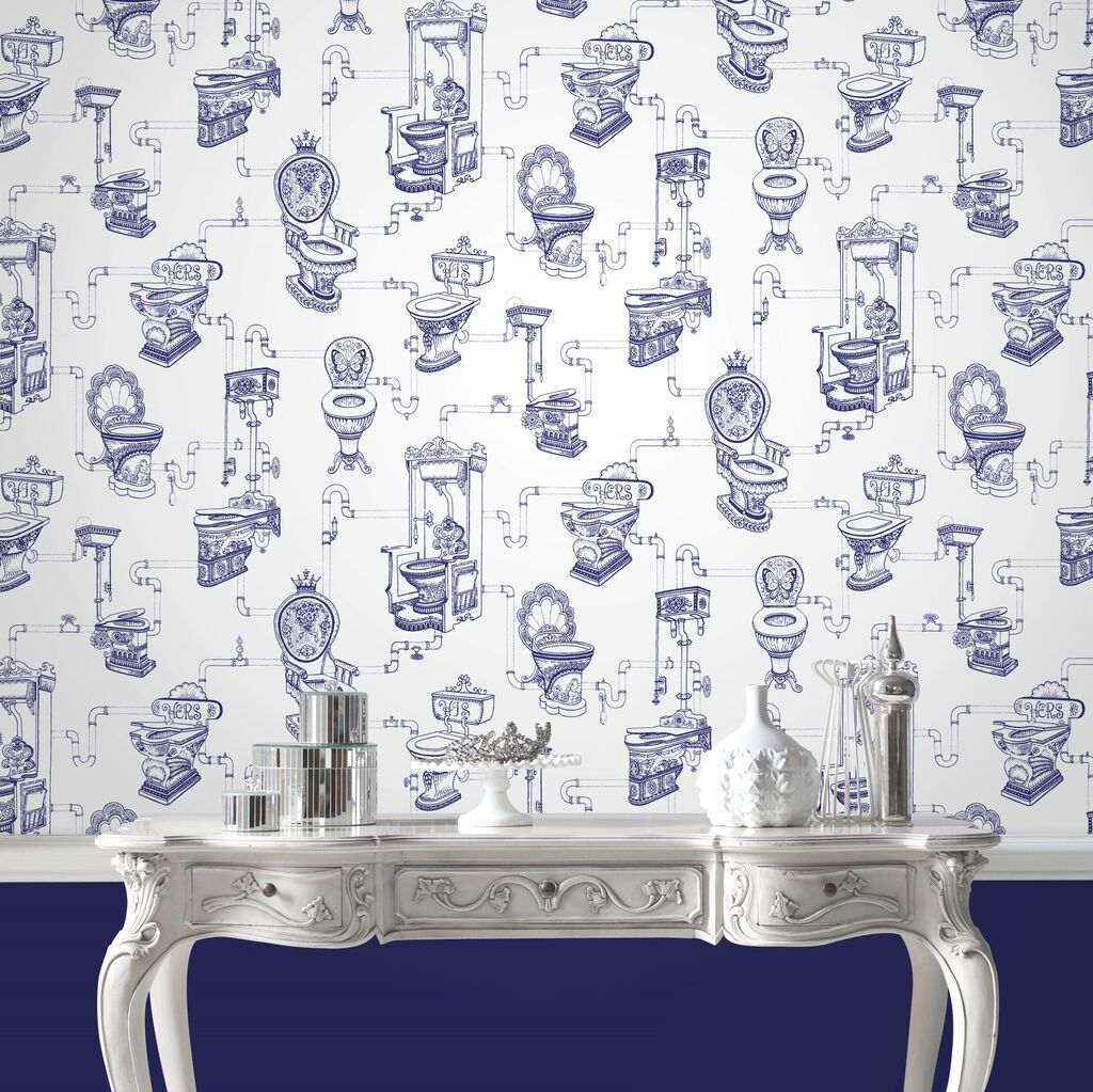 Loo Loo Blue Wallpaper Toilet Design Wallpaper Graham
