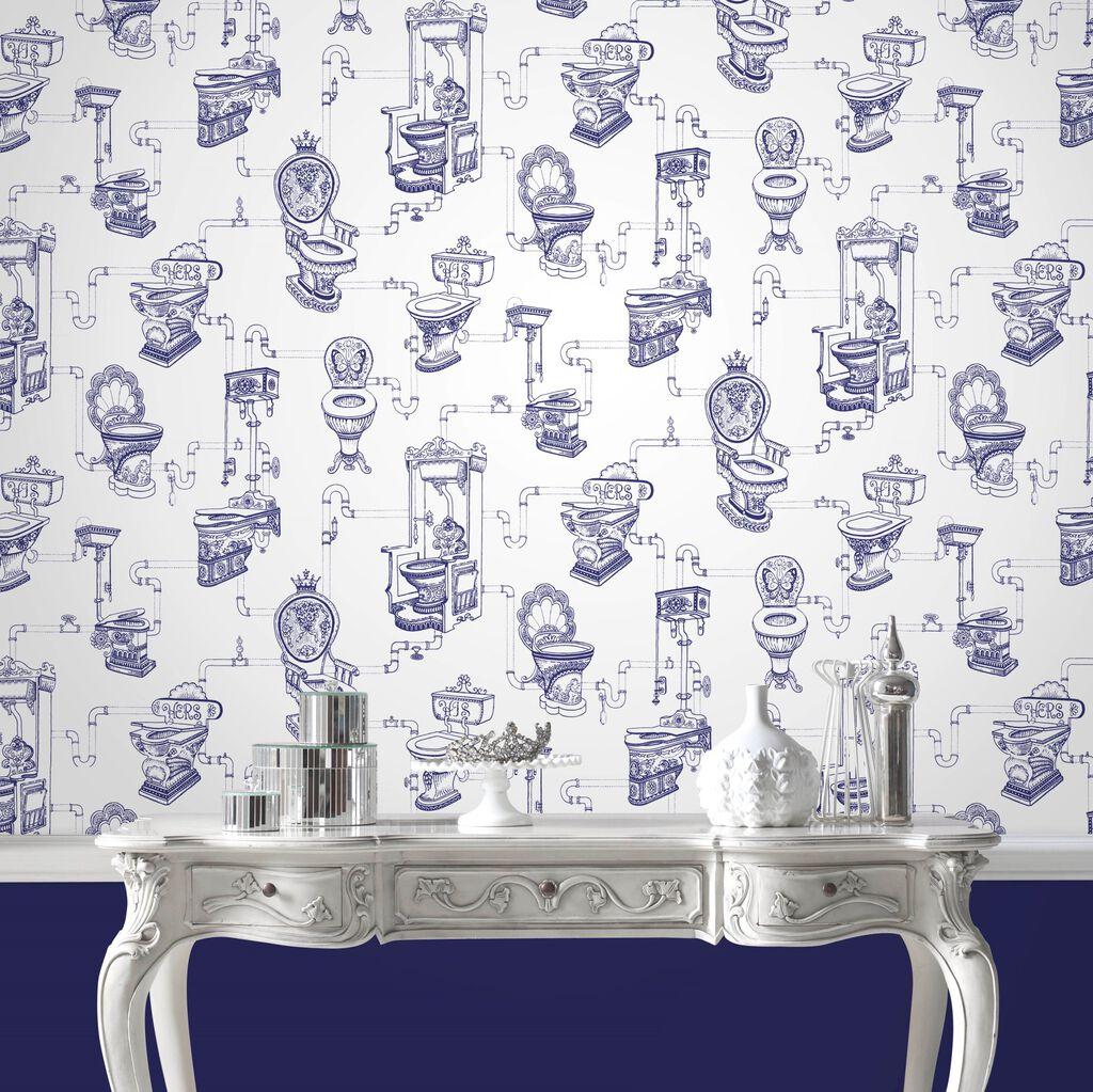 loo loo blue wallpaper toilet design wallpaper graham. Black Bedroom Furniture Sets. Home Design Ideas