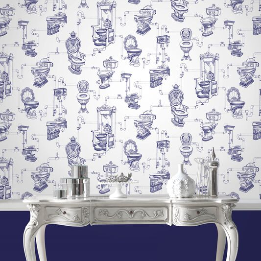 Loo Loo Blue Wallpaper Toilet Design Wallpaper Graham