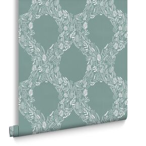 Cloe Blue and White Wallpaper, , large