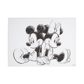 Mickey and Minnie Sketch Sitting Canvas, , large
