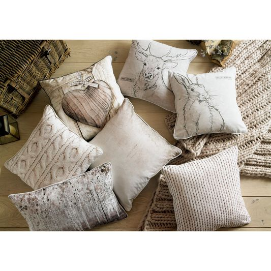 Printed Cable Knit Pillow, , large