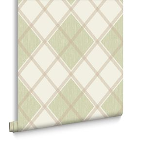 Argyle Spring Green Wallpaper, , large
