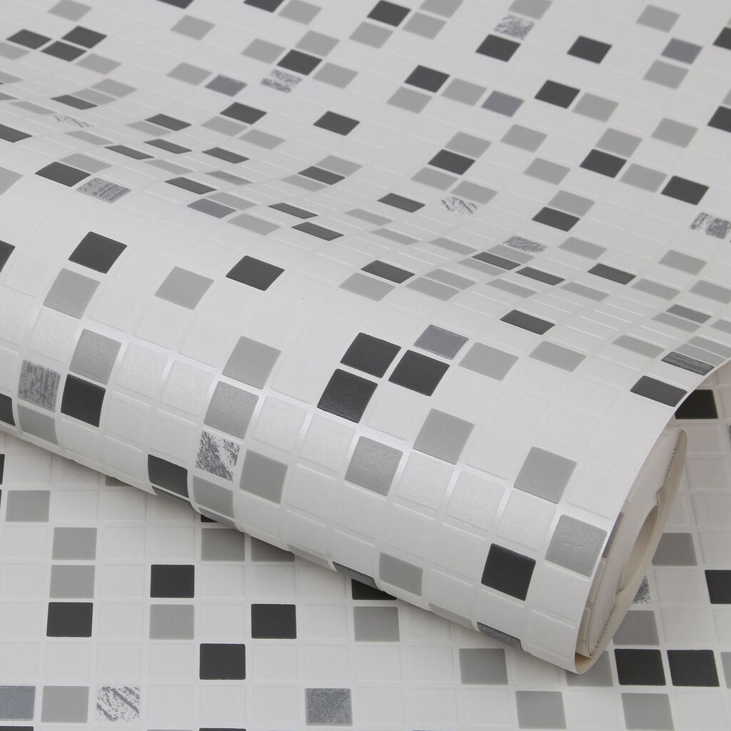 Checkered black and white wallpaper grahambrownuk for Can you wallpaper over tiles