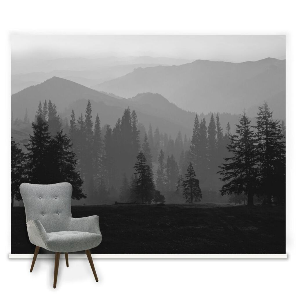 Misty mountains mural grahambrownrow for Black wall mural