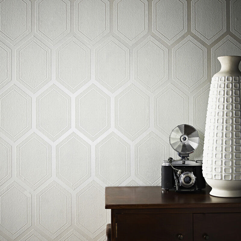Chamonix White And Mica Wallpaper
