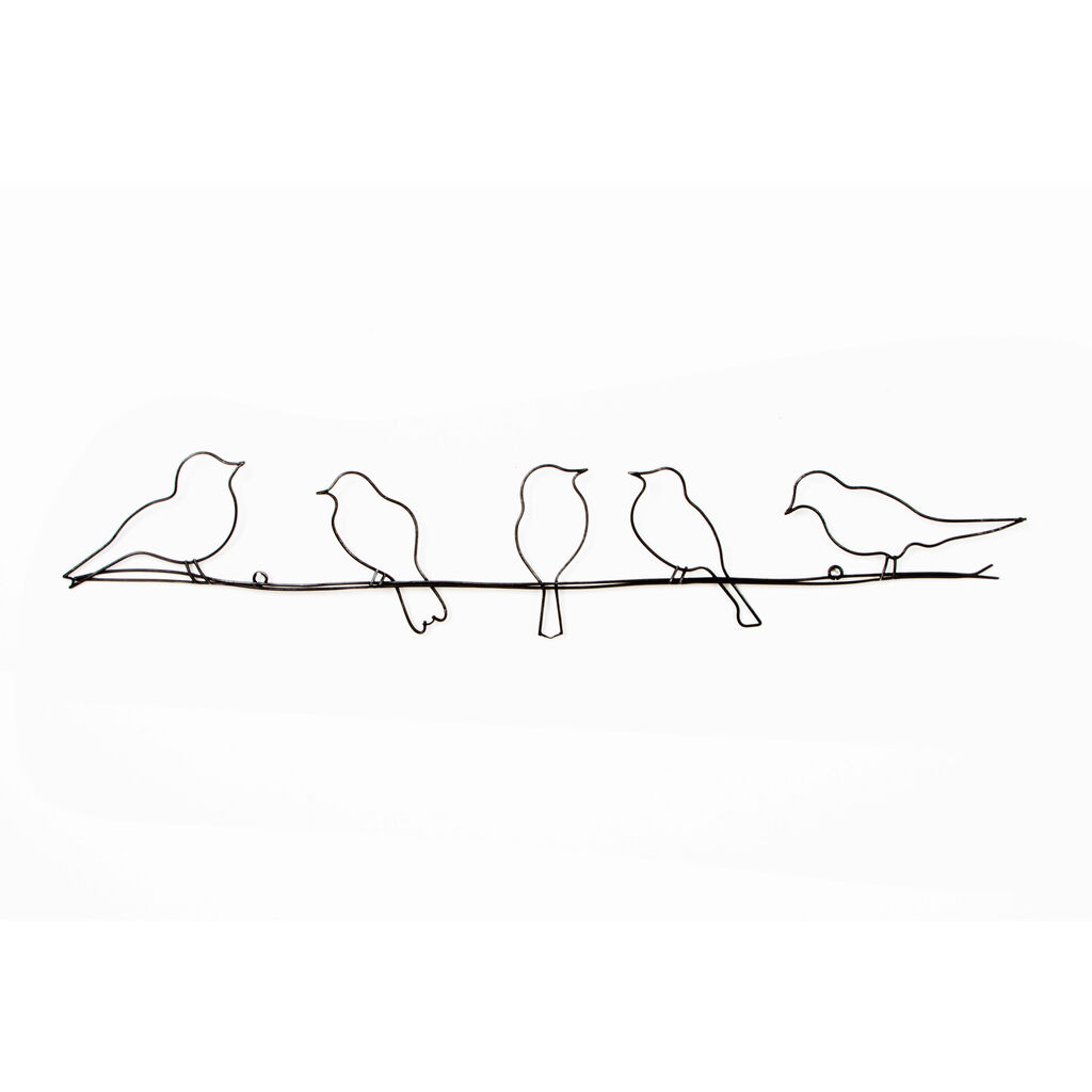 Birds on a wire metal wall art grahambrownuk for Decoration murale metal noir