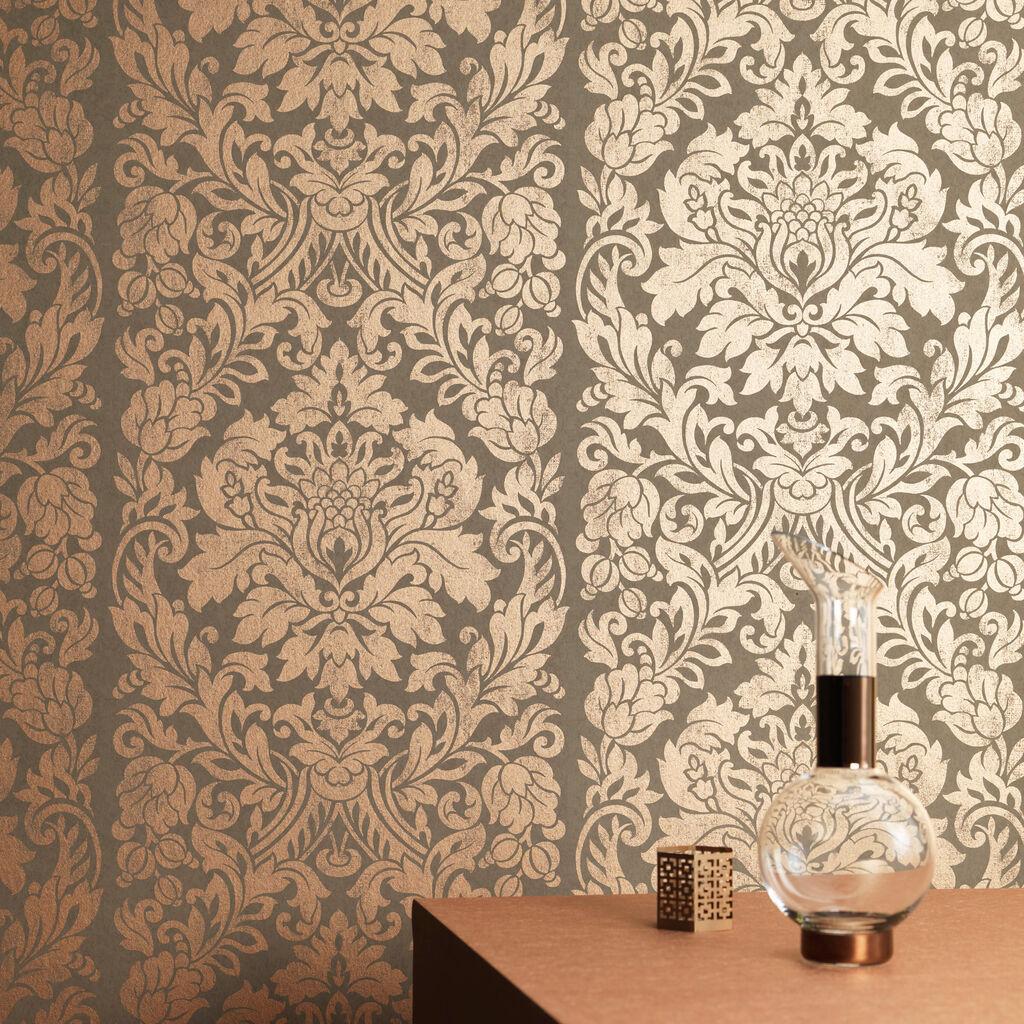 Gloriana Copper Wallpaper Damask Wallpaper Graham Brown