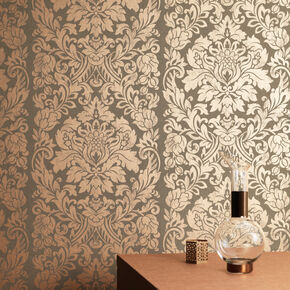 Gloriana Copper Metallic Wallpaper, , large