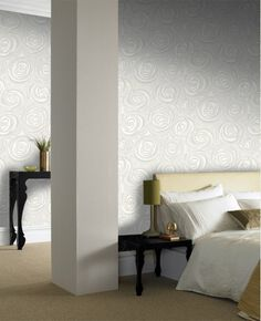 Bella White and Cream Wallpaper, , large