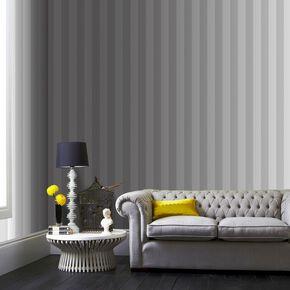 Large Helen Glitter Stripe Silver White Wallpaper