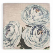 Florales Trio Stoffleinwand in Aquamarin , , large