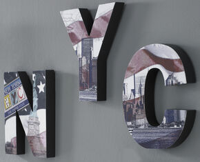 Nyc Shaped Letters Wallpaper, , large