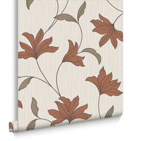 Alannah Burnt Orange Wallpaper, , large