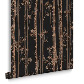 Linden Black and Copper Wallpaper, , large