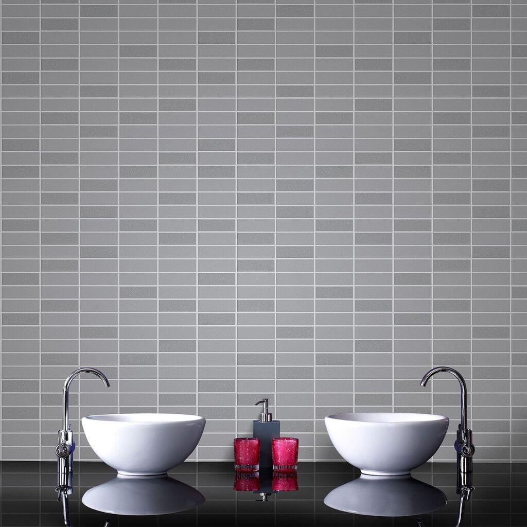 Rimini tile grey shimmer wallpaper grahambrownus - Papier vinyl salle de bain ...