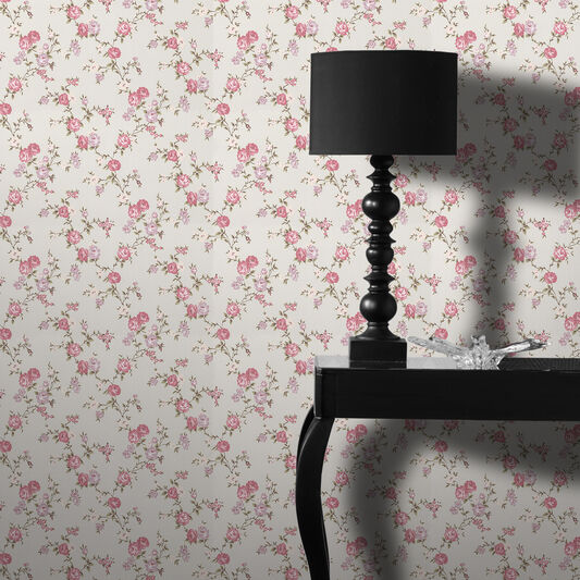 Rose Cottage Duck Egg and Pink Wallpaper, , large