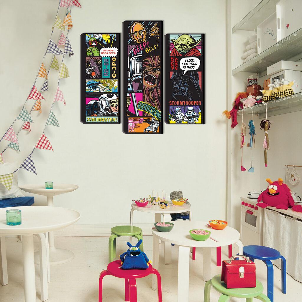star wars comic 3 teilige leinwand collage grahambrownde. Black Bedroom Furniture Sets. Home Design Ideas
