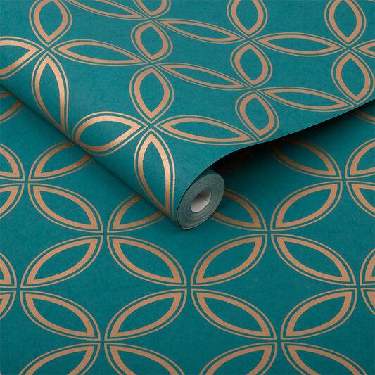 eternity teal and gold wallpaper grahambrownuk
