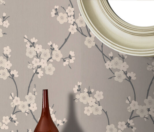 Cherry Blossom Taupe And Charcoal Wallpaper