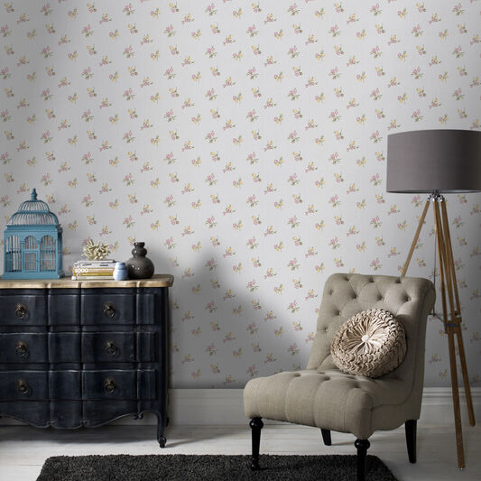 Rosebud Silver and Heather Wallpaper, , large