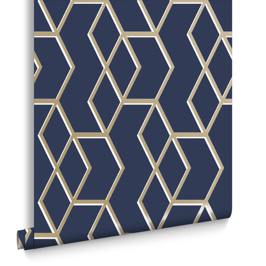 archetype navy gold wallpaper grahambrownuk. Black Bedroom Furniture Sets. Home Design Ideas