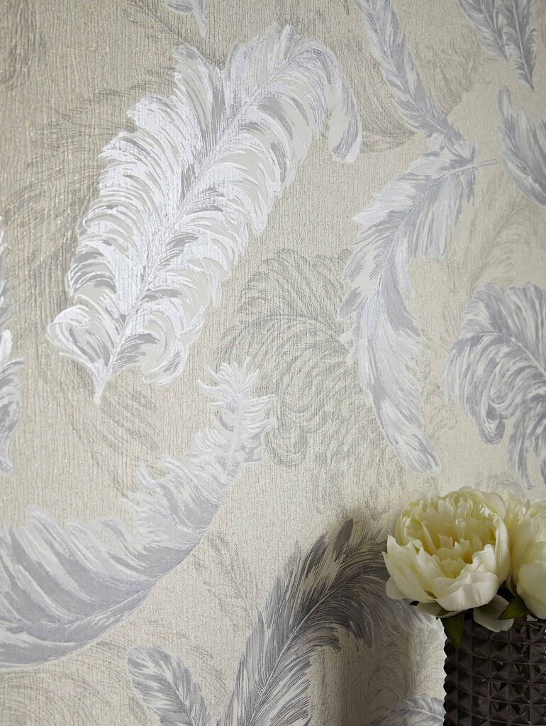 Gilded Feather White And Silver Wallpaper Graham Amp Brown