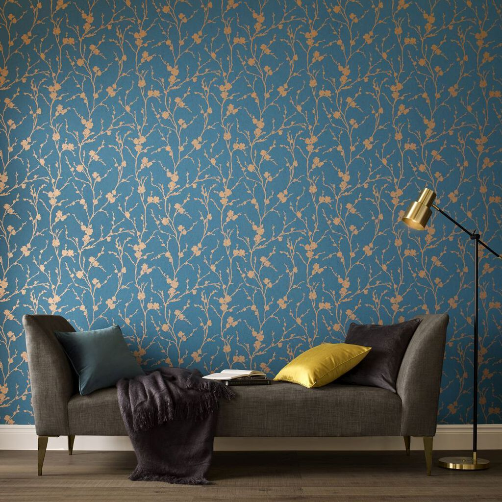 Meiying Teal Wallpaper Grahambrownuk